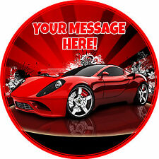 """A 7.5"""" Round Sports Car Personalised Cake Topper ICING"""