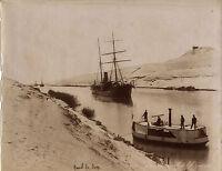 Egitto Canal Da Suez Foto Zangaki Vintage Albumina Ca 1875
