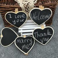 12pk Blackboard Wooden Hearts Clips Labels Signs Craft Pegs Chalkboard Wedding