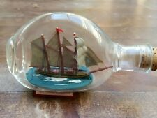 Vintage 3 Mast Ship in small Dimple Glass Bottle -from San Pedro-California