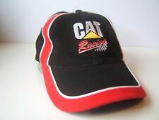 CAT Racing Hat Red Black Caterpillar Equipment Hook Loop Baseball Cap