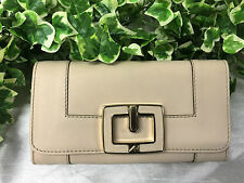 Beautiful Biege Anya Hindmarch Leather Purse With Gold Tone Buckle Fastener