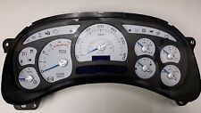 03-04 REPLACEMENT CUSTOM WHITE DURAMAX DIESEL TRUCK CLUSTER BLUE/SILVER $50 CORE