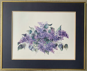 """LISTED ARTIST LYN SNOW LTD ED Lithograph Watercolor """"Lilac"""" Hand Signed  Floral"""