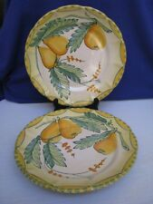 2 Solimene TerraCotta Pottery Dinner Plates Yellow Green Pears Hand Made Italy