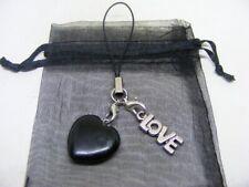 Natural Black Obsidian Heart & Word Love Mobile Phone / Handbag Charm