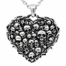 Skulls Heart Pendant Necklace Captivated Souls Stainless Steel Jewelry Controse