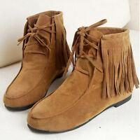 Hot Women's Fringe Tassel Ankle Boots Flat Matte Suede Lace Up Moccasins Shoes P