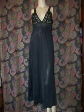 Vintage Vassarette Black Nylon Formal Length Empire Nightgown Nighty Lingerie 38