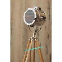 Theater Vintage Floor Search Light Wooden Tripod Nautical Spot Light Lamp Decor