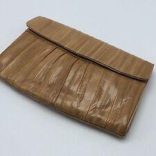 Vtg Carmel Tan Eel Skin Convertible Purse Clutch Shoulder Bag Crossbody Envelope