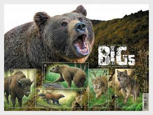 belgium 2020 belgique Big 5 Europe wolf lyns bear bison glutton ours ms5v mnh