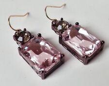 Ohrhänger Vintage Retro Strass Glas eckig pink rosa khaki rosé gold antik