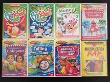 Rock N Learn 8 DVD Lot - PreSchool Colors Sounds Shapes Time Money Math Rap