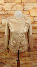 NWT Chicos Womens Beige/ Metallic Champagne Faux Leather Moto Jacket Sz 0 $159