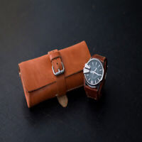 Personalised Watch Travel Roll Case Genuine Leather Handmade Storage Gift