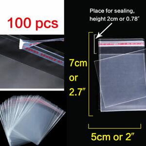 100x Transparent Resealable Zip Lock Bags Self Seal Clear Plastic Bag 5cm- 70cm