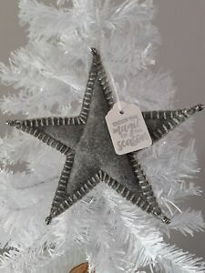 CHRISTMAS Charcoal grey/Silver Felt Star Shaped Tree Decoration with beads