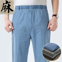 Mens Linen Breathable Straight Leg Elasticated Waist Pants Trousers Casual New