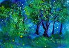 ORIGINAL ACEO Painting NIGHT Trees Summer Stars Fireflies Dark Landscape ATC ART