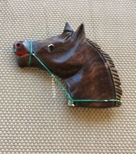 Vintage Wooden Horse Head Pin Brooch with Green Wire 40's 50's