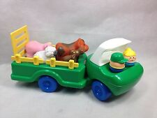 Little Tikes Farm truck with ramp Farmer wife and 4 animals cow sheep pig moose