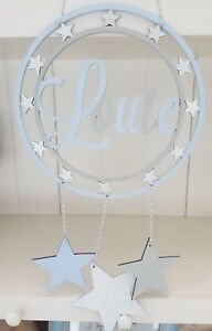 Personalised name wooden stars hanging dreamcatcher baby boy gift