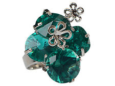Fashion Women Green Crystal Rhinestone Silver Plated Adjustable Rings Jewelry