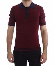 Nuovo Dolce & Gabbana T-Shirt Bordeaux Blu Seta Maglia Polo Uomo IT44/US34 / XS