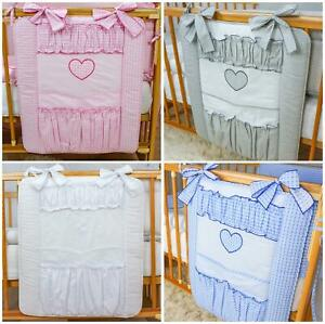 Cot Tidy / Organiser 4 Pockets Match Baby Nursery Cot/ Cot Bed Bedding - Heart