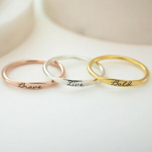 Personalized Stacking Silver Ring Tiny Stacking Ring Custom Silver Name Ring