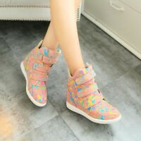 Women's Hidden Wedge Heel High Top Shoes Lace Up Athletic Sneakers Ankle Boots