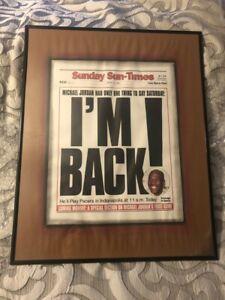 Rare Michael Jordan I'm Back! 16 X 20 Announcement Framed Poster