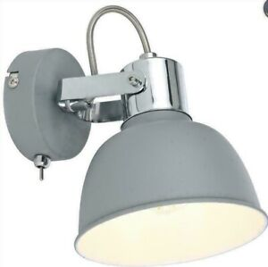 Single Wall Bedside Light with Toggle Switch Grey Screw bulb