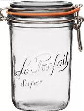 Vintage Le Parfait Super Jar Wide Mouth French Glass Preserving Jar 1 L