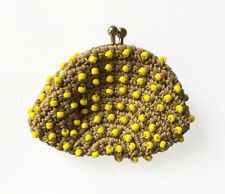 Vintage Beaded & Crochet Coin Change Purse • Tan w/ Yellow Beads • Made in Japan