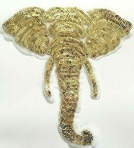 XXL Patch Applikation großer Aufnäher mit Pailletten Elefant