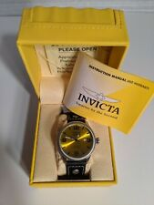 Invicta Mens 1462 Vintage Collection Riveted Leather Strap Yellow Dial Watch NEW