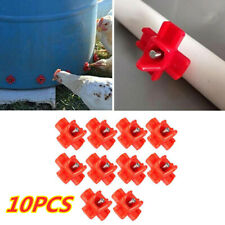 10X Horizontal Side Mount Chicken Nipples Waterer Automatic Poultry Drinker Feed