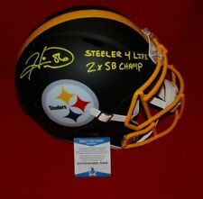 HINES WARD Steelers signed flat black full size helmet BECKETT inscribed COA