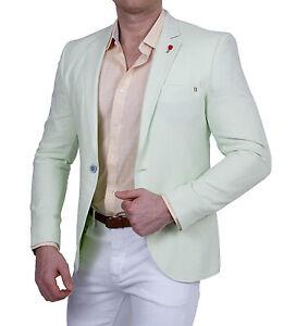 Sommer Leinen-Look Sakko Einknopf Slim-Fit Minze Pastell, Jackett Anzug Blazer