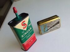 ANTIQUE TINS, SINGER OIL CAN, + BRASS NAIL TIN. ORIG. OWNERS, SO. CAL. ESTATE
