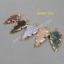 1Pcs Gold Plated Rough Natural Jasper Carved Arrowhead Pendant AG0786