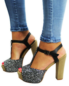 Womens High Heel Wedge Ankle Strap Platform Open Toe Sandals Party Shoes Ladies