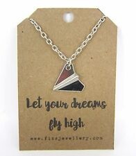 Let Your Dreams Fly High Paper Plane Aeroplane Silver Message Card Necklace Gift