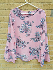 Women's Primark Long Sleeve Floral Top Size L Pink