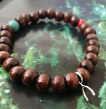 Silver Turquoise & Coral Beaded Wood WishBone  Bracelet  All sizes