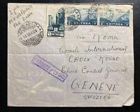 1940 Addis Abeba Ethiopia AOI Airmail Censored Cover to Geneva Switzerland