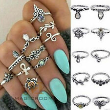 10 Pcs/Set Fashion Women Silver Stone Above Knuckle Finger Stack Band Midi Ring