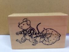 PSX F-2660 Sugar & Mice Mouse in overalls pulling Strawberry Rubber Stamp 1999